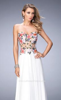 Picture of: Long Chiffon Dress with Lace Applique and Rhinestones, Style: 22709, Main Picture
