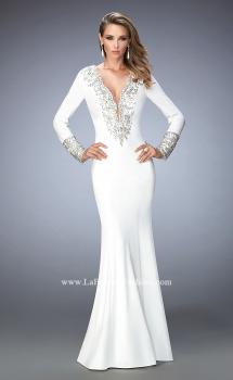 Picture of: Long Sleeve Embellished Jersey Prom Dress in White, Style: 22714, Main Picture