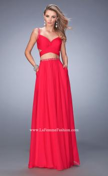 Picture of: Two Piece Attached Chiffon Prom Dress with Cut Outs in Pink, Style: 22718, Main Picture