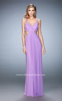 Picture of: Long Prom Gown with Open Back and Stud Detail in Purple, Style: 22729, Main Picture
