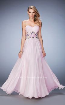 Picture of: Chiffon Gown with Gathered Bust and Lace Belt in Pink, Style: 22731, Main Picture
