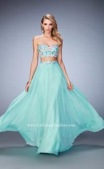 Picture of: Two Piece Prom Dress with Floral Lace Applique in Green, Style: 22732, Main Picture
