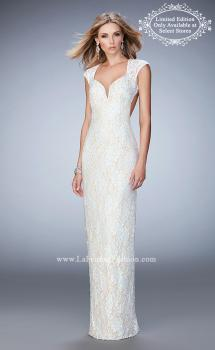 Picture of: Long Lace Gown with Sheer Sleeves and Back Slit in White, Style: 22735, Main Picture