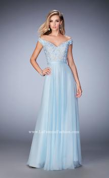Picture of: Long Off the Shoulder Gown with 3-D Floral Lace, Style: 22737, Main Picture