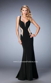 Picture of: Long Mermaid Prom Gown with Edgy Side Cut Outs in Black, Style: 22742, Main Picture