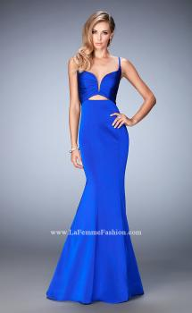 Picture of: Long Mermaid Dress with Pleated Bodice and Cut Outs in Blue, Style: 22747, Main Picture