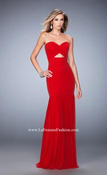 Picture of: Long Prom Gown with Exposed Boning and Stones in Red, Style: 22753, Main Picture