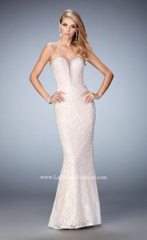 Picture of: Long Lace Prom Gown with Plunging Neckline, Style: 22759, Main Picture