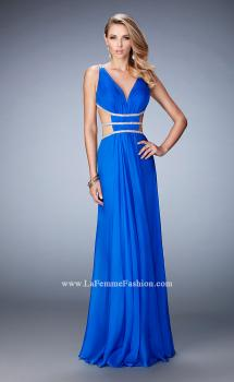 Picture of: Long Chiffon Gown with V Neckline and Crystal Straps, Style: 22762, Main Picture