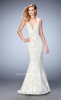 Picture of: Lace Mermaid Prom Gown with Shimmer Lining in White, Style: 22768, Main Picture