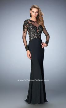 Picture of: Long Sleeve Jersey Dress with Beaded Embroidery in Black, Style: 22773, Main Picture
