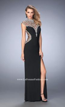 Picture of: Long Embellished Prom Dress with Side Leg Slit in Black, Style: 22776, Main Picture
