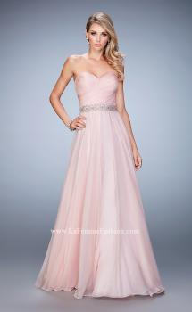 Picture of: Chiffon Prom Gown with Gathered Bodice and Pearls, Style: 22786, Main Picture