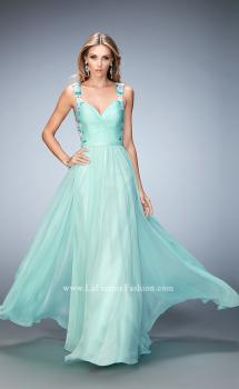 Picture of: Multicolored Floral Lace Embellished Long Prom Dress in Green, Style: 22804, Main Picture
