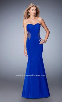Picture of: Mermaid Jersey Prom Gown with Cut Outs and Stones, Style: 22806, Main Picture