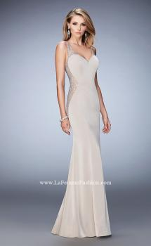 Picture of: Jersey Prom Gown with Sheer Back, Sides, and Straps in Nude, Style: 22808, Main Picture