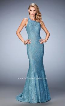Picture of: Open Back Lace Prom Gown with Train and Rhinestones, Style: 22811, Main Picture