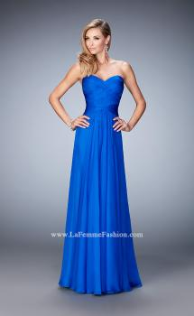Picture of: Gathered Chiffon Prom Gown with Sweetheart Neck in Blue, Style: 22815, Main Picture