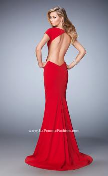 Picture of: Cap Sleeve Jersey Prom Dress with Train in Red, Style: 22819, Main Picture