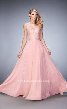 Picture of: Chiffon Gown with Beaded and Lace Bodice and Train in Pink, Style: 22824, Main Picture
