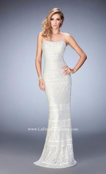 Picture of: Strapless Lace Dress with Gold Shimmer Lining in White, Style: 22841, Main Picture