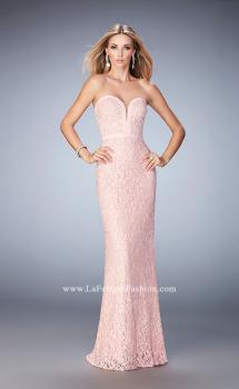 Picture of: Lace Prom Dress with Scattered Rhinestones in Pink, Style: 22878, Main Picture