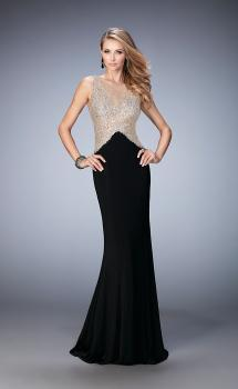 Picture of: Jersey Prom Gown with Train and Sheer Neckline in Black, Style: 22886, Main Picture