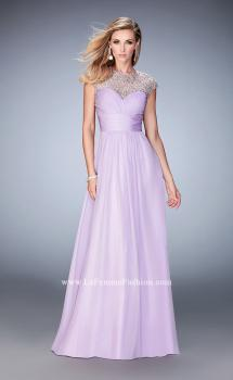 Picture of: Long Prom Gown with Crystals and Beads in Purple, Style: 22890, Main Picture