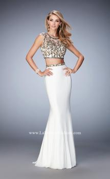 Picture of: Two Piece Prom Dress with Cap Sleeves and Beading, Style: 22891, Main Picture