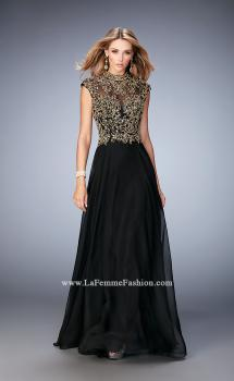 Picture of: Long Prom Dress with Embellished Waistband in Black, Style: 22895, Main Picture