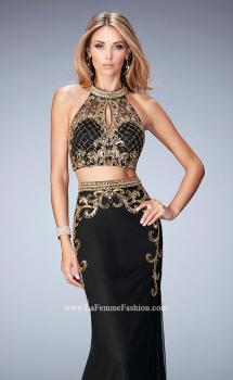 Picture of: Fully Embellished Two Piece Dress with Sheer Back in Black, Style: 22898, Main Picture