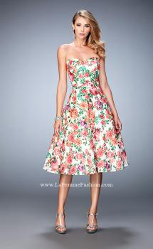 Picture of: Floral Tea Length Dress with Sweetheart Neckline, Style: 22903, Main Picture