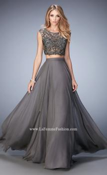 Picture of: Two Piece Chiffon and Beaded Gown with High Neckline in Gray, Style 22929, Main Picture