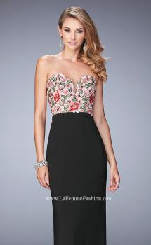 Picture of: Long Jersey Open Back Dress with Floral Lace Applique, Style: 22959, Main Picture