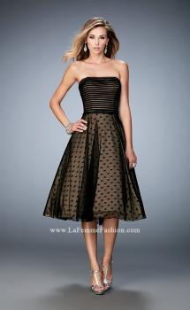 Picture of: Tea Length Dress with Polka Dots and Striped Bodice, Style: 22961, Main Picture