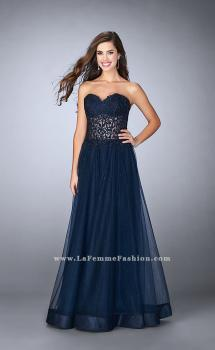 Picture of: Strapless dress with a sheer corset bodice and beaded tulle skirt in Blue, Style: 22964, Main Picture