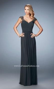 Picture of: Lace and Jeweled Prom Dress with Cap Sleeves in Silver, Style: 22974, Main Picture