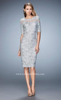 Picture of: Knee Length Lace Cocktail Dress with 3/4 Sleeves in Silver, Style: 22989, Main Picture