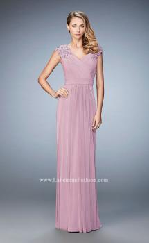 Picture of: Cap Sleeve Evening Gown with Pleats and Lace in Pink, Style: 23004, Main Picture