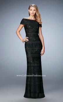 Picture of: Gold Lined Cap Sleeve Lace Evening Dress in Black, Style: 23012, Main Picture