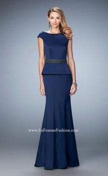 Picture of: Satin Peplum Evening Dress with Boat Neckline in Blue, Style: 23020, Main Picture