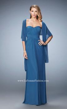 Picture of: Evening Gown with Pleated Bodice and Shawl in Blue, Style: 23023, Main Picture