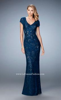 Picture of: Lace and Jewel Embroidered Gown with Short Sleeves in Blue, Style: 23071, Main Picture