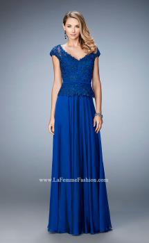 Picture of: Chiffon Evening Dress with Fitted Belt in Blue, Style: 23085, Main Picture