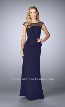 Picture of: Beaded Cap Sleeve Peplum Dress with Sheer Detail, Style: 23112, Main Picture