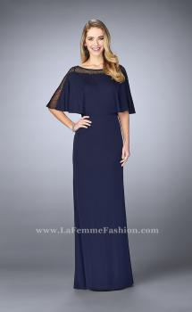 Picture of: Sheer Beaded Evening Dress with Faux Cape in Blue, Style: 23113, Main Picture