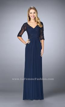 Picture of: 3/4 Sleeve Evening Dress with Lace Accents in Blue, Style: 23118, Main Picture