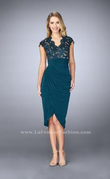 Picture of: Jersey Cocktail Dress with Tulip Hem and Beading in Green, Style: 23124, Main Picture