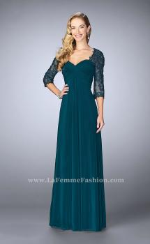 Picture of: Long Evening Gown with 3/4 Sleeves and Empire Waist in Green, Style: 23141, Main Picture