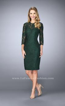 Picture of: Knee Length Lace Dress with 3/4 Sleeves in Green, Style: 23149, Main Picture